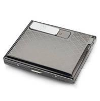 Металлический портсигар на 15 сигарет с встроенной электрической зажигалкой ЧЕРНЫЙ SKU0000600