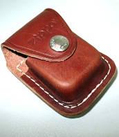 Практичный фирменный коричневый кожаный чехол Zippo