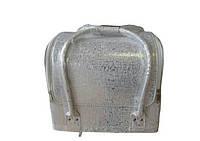 Чемодан, маникюрная сумка для мастера, кож.зам, серебро