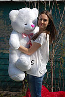 Мишка плюшевый с бантом цвет белый 110 см
