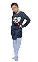 Детская модная туника -платье трикотаж, трехнитка