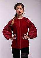 Вышиванка для женщин с узором Ясные зори, бордовый лен