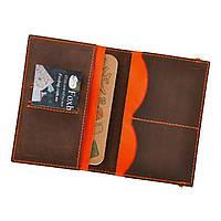 Обложка кожаная для паспорта и карточек 2.0 Орех-апельсин