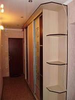 Шкафы купе для прихожей. Раздвижные двери ДСП и Зеркало с рисунком.