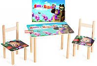Набор столик и 2 стульчика дерево Маша и Медведь 2 вида 064 *фп