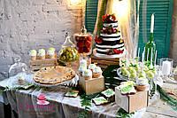 Свадебный Кенди бар (Candy Bar) в стиле ботаник (рустик) - марсала, фото 1