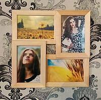 Коллаж для фотографий на стену на 4 фото. Цвет дерево.