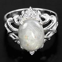 """Изящный перстень """"Туман"""" с серым звездчатым сапфиром , размер 17 студия LadyStyle.Biz"""