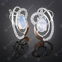 Серебряные серьги с лунным камнем и фианитами. Артикул С-308