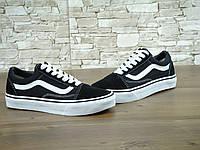 Кеды в стиле Vans Old Skool унисекс замша черные с белым, фото 1