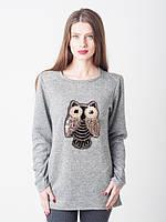 Ангоровая женская кофта-туника с совой серого цвета