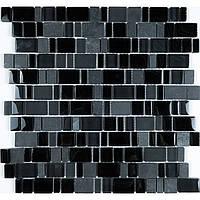 Черная каменная мозаика со стеклом Vivacer DAF107