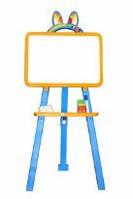 Мольберт для рисования магнитный (для мела и маркера), желто-голубой, 013777/1