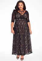 Длинное платье большого размера с гипюровым верхом