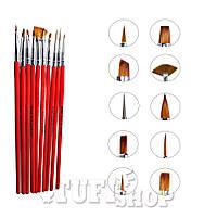 Набор кисточек для наращивания и рисования №NK-16 YRE красный 10 шт
