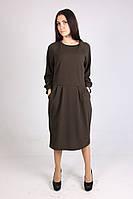 Женское трикотажное темно-зеленое платье больших размеров