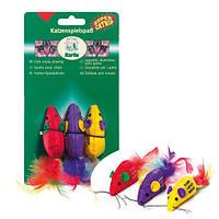 Karlie-Flamingo SUPERMOUSE мышь c перьями и кошачьей мятой, игрушка для котов 1шт.