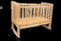 """Кровать детская массив с опускаемой боковиной на дуге+колеса  """"ЭВИСС-6"""" *эв"""
