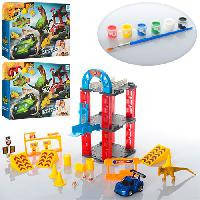 Трек игрушечный с машинкой (металлической) 6,5см, динозавром 6-13см, красками 6шт и кисточкой, 8899-96