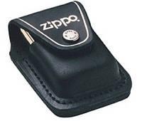 Кожаный чехол для зажигалки Zippo черный на клипсе