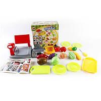 Игровой набор Касса, продукты на липучке, посуда, досточка, 616A