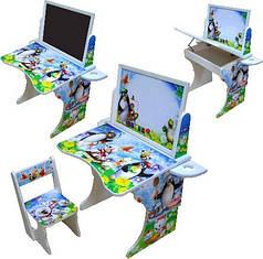 Парта Baby Elit со стулом и двухсторонним мольбертом Пингвины ППМ-2