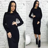 Платье миди Двойная баска чёрный