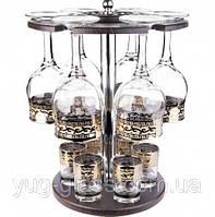 """Набор 13 предметный с рисунком  """"Версаче""""(бокалы для вина, стопки, барная стойка)."""