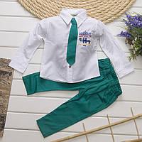 Нарядный костюм   для мальчика с рубашкой, брюками и галстуком от 1 до 3 лет