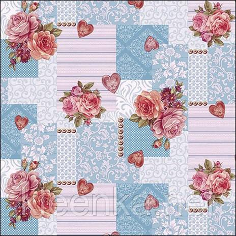 Клеенка на кухонный стол с розами и сердечками
