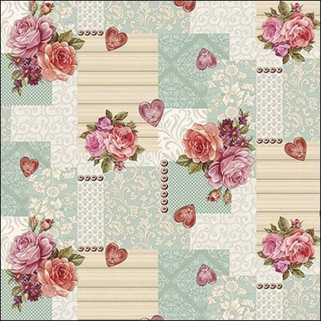 Клеенка на кухонный стол с розами и сердечками , фото 2