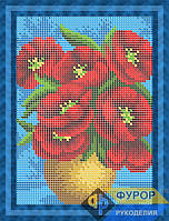 Схема для вышивки бисером - Букет маков в вазе, Арт. ДБп5-086