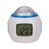 Часы проектор звездного неба UI1038: 7 мелодий, 3 цвета светодиодов, термометр, будильник, календарь