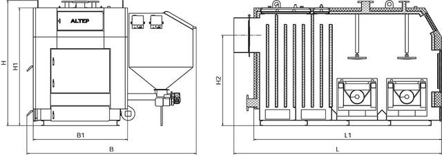 Габаритные размеры котла КТ-3E-SH 500 кВт