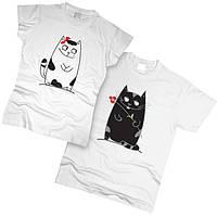 Футболки парные Кот и кошка 01