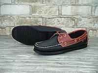 Мокасины топсайдеры Sebago Docksides кожаные black/brown (Реплика ААА+)