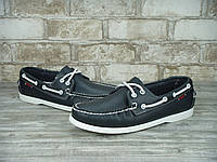 Мокасины топсайдеры Sebago Docksides кожаные black/white (Реплика ААА+)