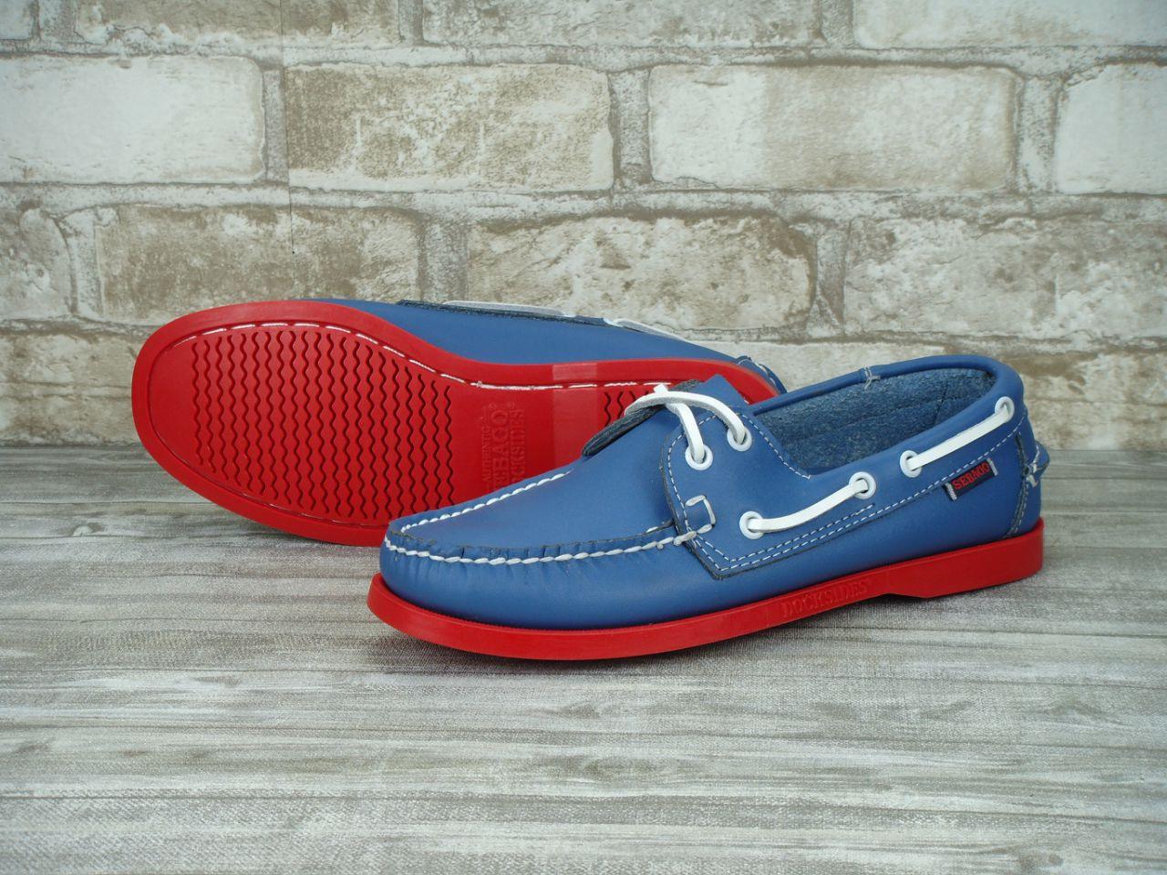 Мокасины топсайдеры Sebago Docksides кожаные blue/red (Реплика ААА+)