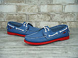 Мокасины топсайдеры Sebago Docksides кожаные blue/red (Реплика ААА+), фото 4