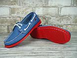 Мокасины топсайдеры Sebago Docksides кожаные blue/red (Реплика ААА+), фото 6