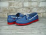 Мокасины топсайдеры Sebago Docksides кожаные blue/red (Реплика ААА+), фото 7