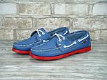 Мокасины топсайдеры Sebago Docksides кожаные blue/red (Реплика ААА+), фото 8