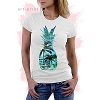 Біла Футболка біла жіноча з малюнком Тропічний Острів Ананас, фото 1