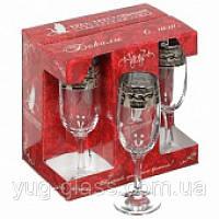 """Набор бокалов 190 мл для шампанского GE08-419 рисунок  """"Версаче"""" 6 шт."""