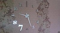 Часы на стену большие с надписями (диаметр 1 м) серебристые B-01-S-SILVER