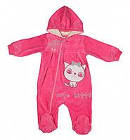 Детский велюровый комбинезон (человечек) для девочки розовый с капюшоном ( для новорожденного)