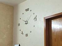 Часы на стену большие с птичкой (диаметр 1 м) серебристые B-02-S-SILVER