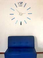 Часы на стену большие с палочками (диаметр 1 м) синие B-03-B-BLUE
