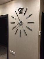 Часы на стену большие с палочками (диаметр 1 м) серебристые B-03-S-SILVER
