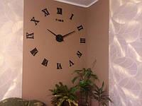 Часы на стену большие с римскими цифрами (диаметр 1 м) черные B-05-B-BLACK